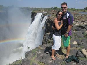 Double rainbows over the edge of Victoria Falls