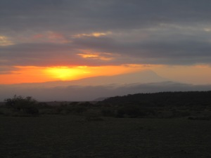 Sunrise at Kilimanjaro (we enjoyed s'mores off the truck)