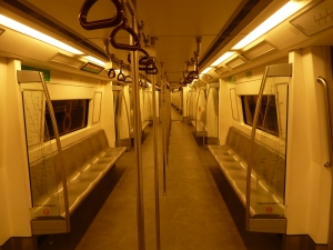 Empty trains in Dehli on the morning of the Holi festival