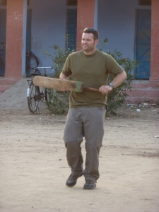 A very happy Aussie playing cricket in India