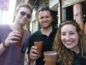 New friends & their lassis in Jaipur, India