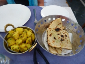 One of my many Aloo dishes & Naan-Delicious!