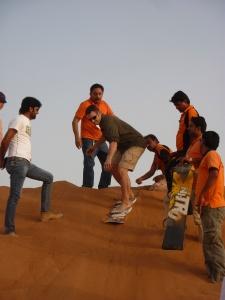 Mathew sandboarding in Dubai