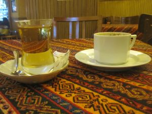 Apple tea and Turkish coffee at the Bazaar