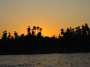 Egyptian sunset floating on the Nile River