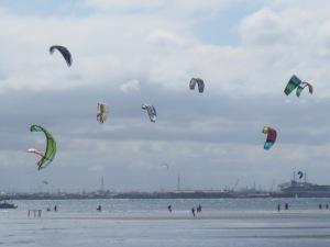 Kite surfers at St. Kilda beach