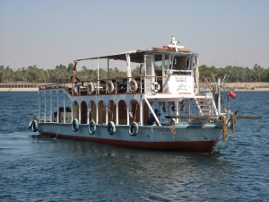 Support boat for our felucca excursion
