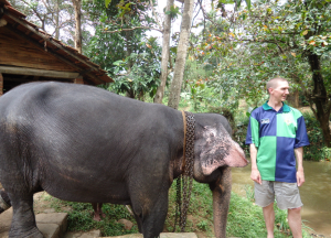 Jonny Blair and an elephant in Sri Lanka