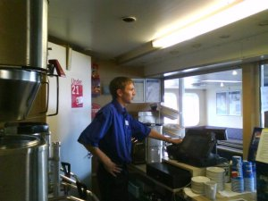 Jonny Blair working as a steward on Car Ferries