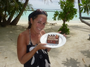 Birthday cake delivered to the sand!