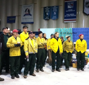 Some of the Forest Service firefighters at a morning briefing - thegiftoftravel.wordpress.com