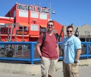 Adam and Mat at Muscle Beach - thegiftoftravel.wordpress.com